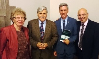 The four speakers at the event: Dr. Adele Buckley (Pugwash Council member), Lieutenant-General (ret'd) Romeo Dallaire, Prof. Walter Dorn and Steve Staples (Rideau Institute and M.C. for the evening).